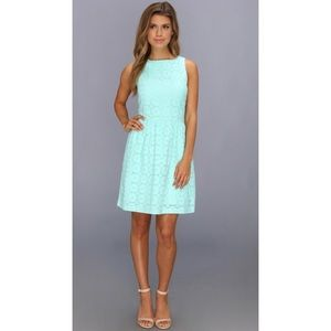 Kensie light turquoise eyelet lace dress large